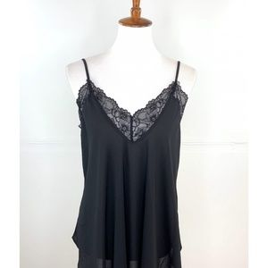 Black lace trimmed tank